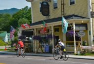 Sojourn cyclists in E Burke during Vermont Bike & Brew Tour