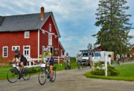 Rolling out of the Inn at Mt View Farm during the Vermont Bike & Brew Tour