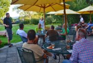 Chef presents first course during Vermont Bike & Brewery Tour at Mountain View Farm