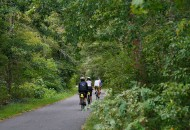 Sojourn cyclists on the rail trail during a Cape Cod bike tour