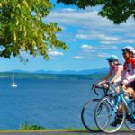Sojourn cyclists during a Vermont Bicycle Tour along Lake Champlain