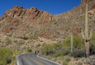 Sojourn bike tour cyclists ascend Gates Pass in Arizona