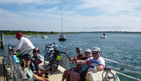 Sojourn Bike Tour guests on the bike ferry