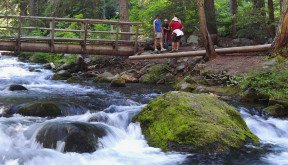Sojourn guests hiking during Oregon Bicycle Tours