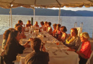 Women's bike tour weekend dinner on the dock