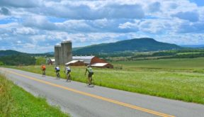 Vermont bicycle tour cyclists in the Lake Champlain Valley