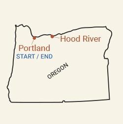Oregon: Columbia Gorge Bike Tour Map