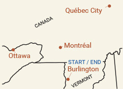 Canada: Ottawa to Montreal Bike Tour Map