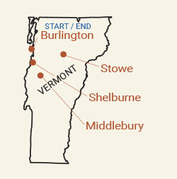 Vermont: Stowe Fall Foliage Bike Tour Map