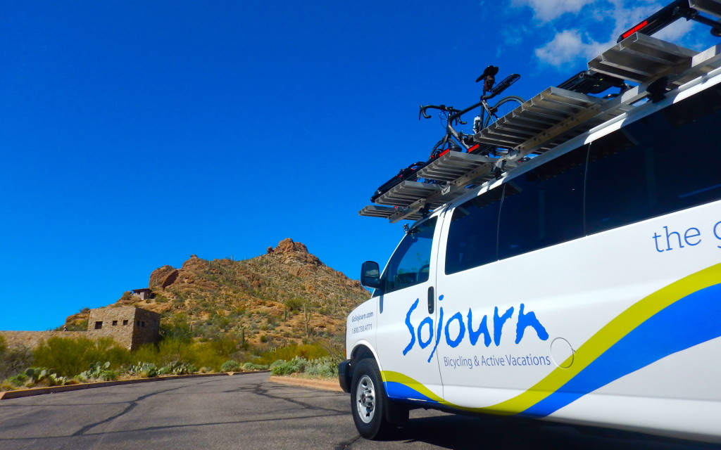 Go Sojourn! The van is always there to meet us with snacks and hydration.