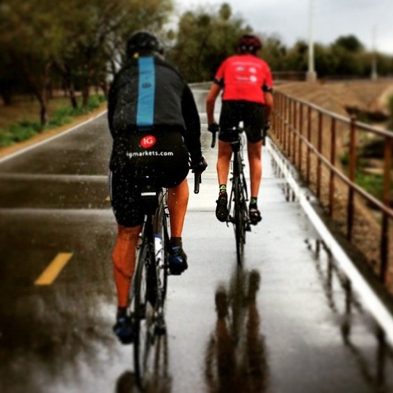 Rain did not deter us from an early ride Sunday morning to scout the routes