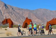 cyclists riding in borrego springs during a Joshua Tree and Palm Springs bike tour