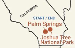 California: Palm Springs & Joshua Tree National Park Bike Tour Map