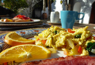 breakfast al fresco at korakia during Sojourn bike tours
