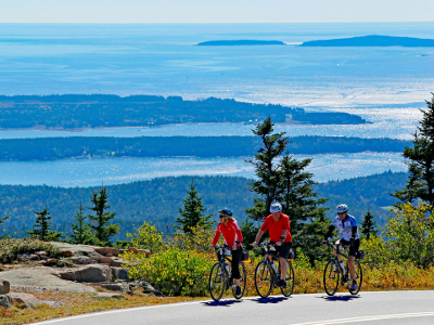 summer cycling vacation cyclists in Acadia National Park