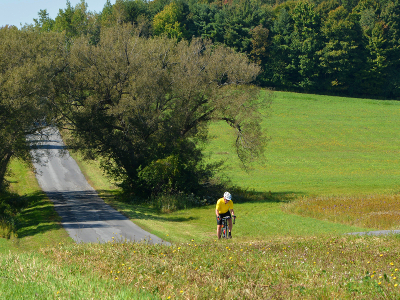 Sojourn cyclist during summer cycling vacations in the Finger Lakes