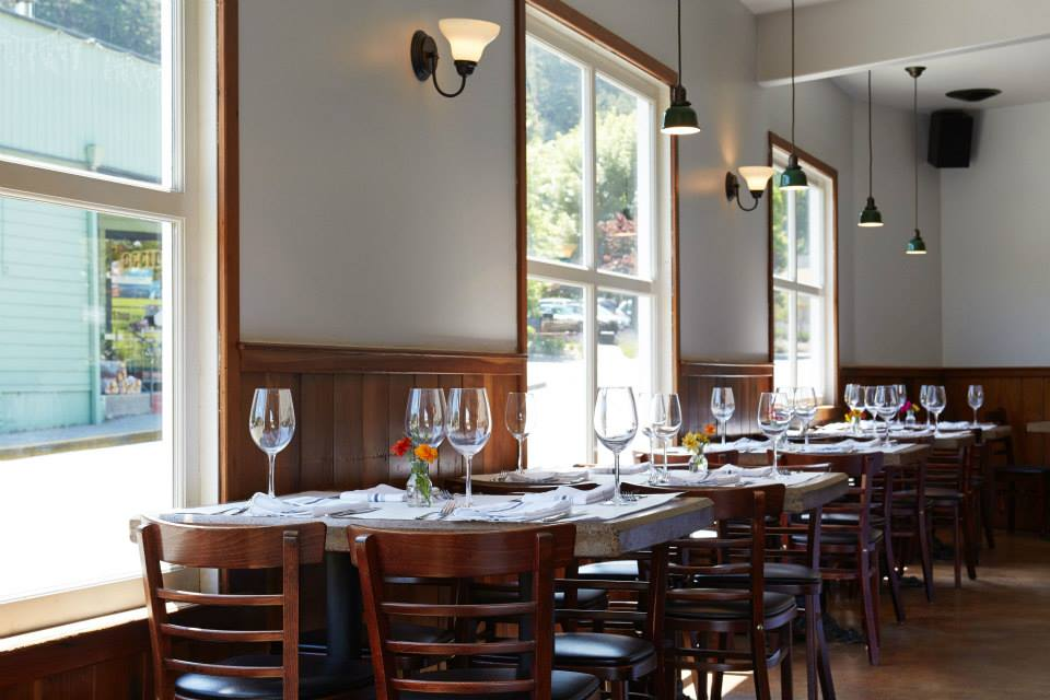 Hazel Restaurant in Occidental California, Sojourn wine country cycling tour