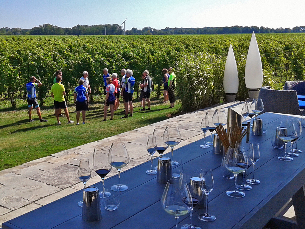 Sojourn guests enjoying a tour of Stratus Vineyards on their Niagara Ontario Canada wine country bike tour