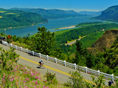 Sojourn cyclists in Columbia Gorge during summer cycling vacations in Oregon