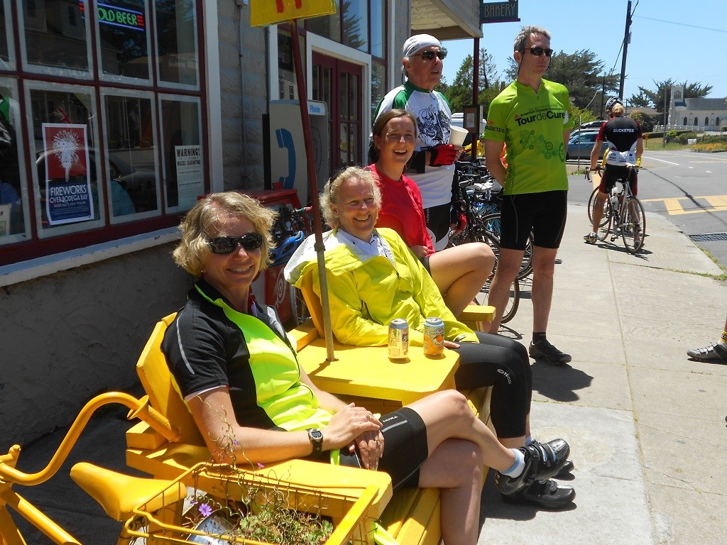 Sojourn bike tours guests break for lunch at Tomales Bakery in Sonoma wine country