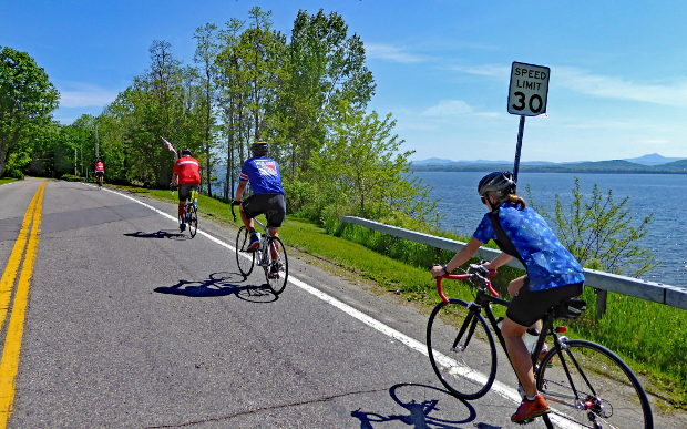 Vermont bike tour cyclists along Lake Champlain in May 2016
