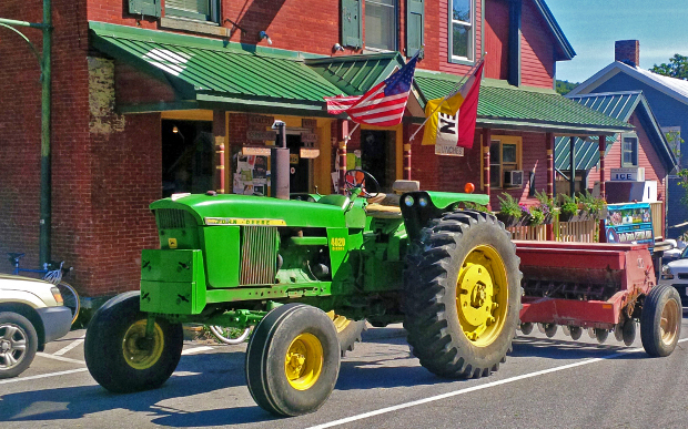 tractor parked at the Old Brick Store in Charlotte, Vermont