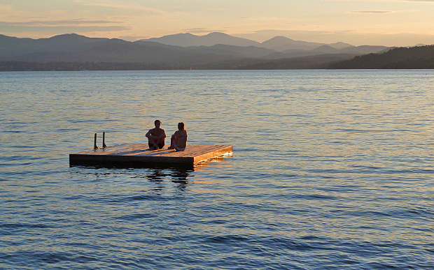 summer sunset on Lake Champlain during a Vermont bicycling vacation