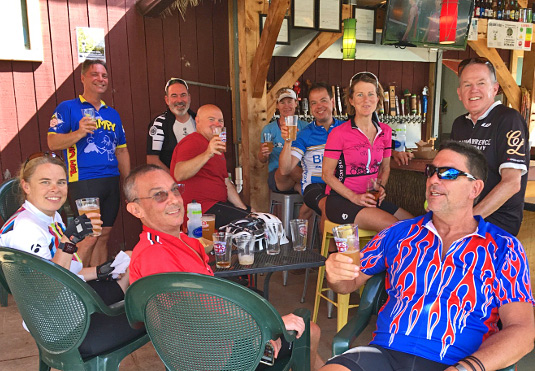 Sojourn Vermont Bike and Brew guests share post ride brews
