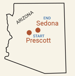 Northern Arizona: Prescott & Sedona Bike Tour Map