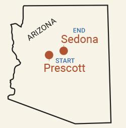 Northern Arizona: Prescott & Sedona Bike Tour Map