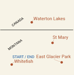 Glacier National Park & Waterton Lakes Bike Tour Map