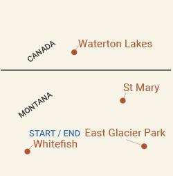 Glacier National Park & Waterton Lakes Bike Tour Map
