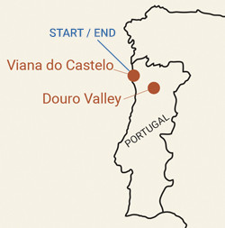 Portugal: Porto, Vinho Verde and Douro Valley Bike Tour Map