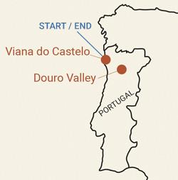 Portugal: Porto, Vinho Verde and Douro Valley Bike Tour Map