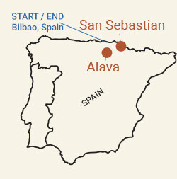 Spain: Basque Country and Rioja Wine Region Bike Tour Map