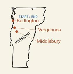 Vermont Fall Foliage: Lake Champlain Valley Bike Tour Map