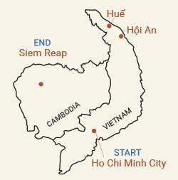 Vietnam and Cambodia's Angkor Ruins Bike Tour Map